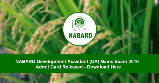 NABARD DA Mains 2016 admit card